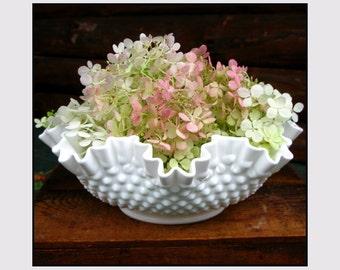 Fenton Milk Glass Bowl / Milk Glass Hobnail Wedding Centerpiece by Fenton