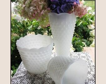 Vintage Milk Glass Vases / Milk Glass Hobnail Centerpiece / Wedding Milk Glass / Hobnail Planters
