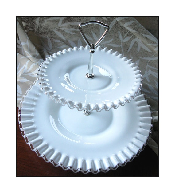 Wedding Milk Glass Tidbit Server by Fenton