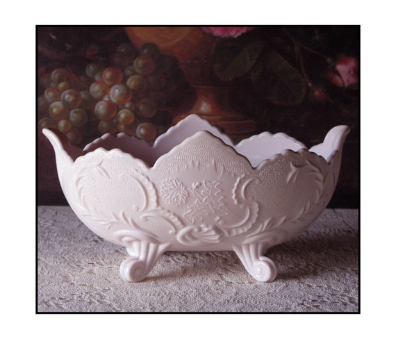 Vintage Pink Milk Glass Bowl