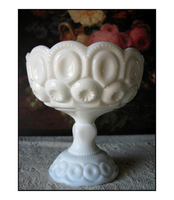 Vintage Milk Glass Compote by L.E. Smith