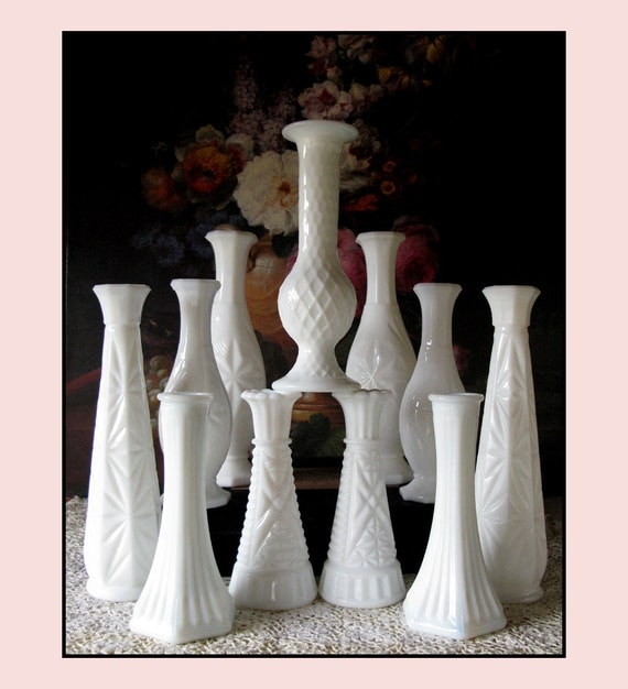 Vintage Milk Glass Bud Vase Collection of Eleven - Wish Upon a Star