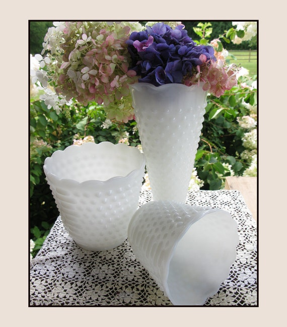 Vintage Milk Glass Vases / Milk Glass Hobnail Centerpiece / Wedding Milk Glass / Hobnail Planters