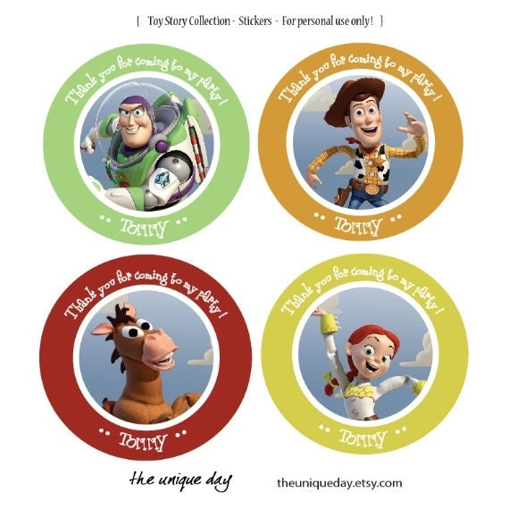 Toy Story sticker label Woody Jessie Buzz by theuniqueday on Etsy