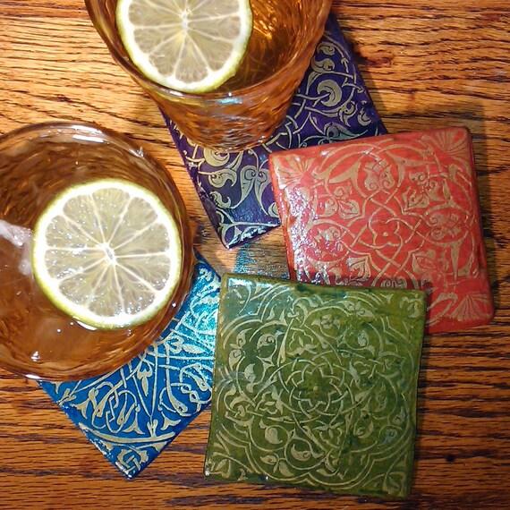 Handpainted, Stamped Islamic Design Ceramic Tile Coasters, Set of 4