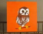 Hooty the Owl 6x6 art block original painting Orange