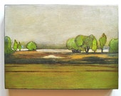 Trees on the Horizon Painting.12x9 Original Art Acrylic Green Blue Brown red tile studio