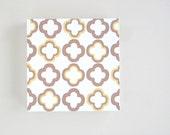 Quatrefoil 8x8 art block on wood block geometric pattern Grey Yellow modern redtilestudio