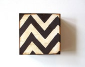 Zigzag Chevron Design 1 5x5 art block on wood Black White graphic  modern pattern shapes red tile studio