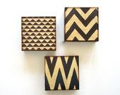 Art Block Trio/3/Three 5x5  Mix and Match choose any 3 geometric pattern chevron zig zag brown black gray red tile studio