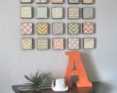 Wall Decor l Art Block 5x5  Twenty 20 Set Choose your Designs chevron circles Geometric redtilestudio wood