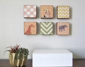 Art Block 5x5  SIX 6 Set Choose your Designs chevron circles animals nursery  Geometric redtilestudio wood
