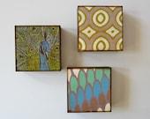PEACOCK Art Block Trio/3/Three 5x5  geometric pattern blue green redtilestudio
