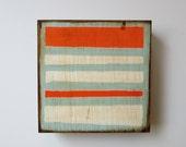 Art Block l Nautical Stripes 5x5 wood block Nautical Summer ocean beach orange blue  redtilestudio
