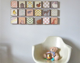 Nursery Art Block 5x5 Nine 9 Set Animals Geometric Collection Child Decor Baby  5x5 Geometric redtilestudio wood