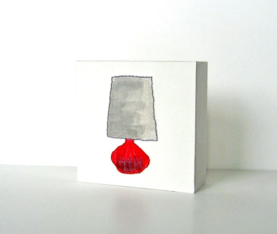 4x4 Stitched Watercolor Red Table Lamp Painting Modern Art Block red tile studio
