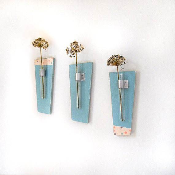 Flower vase with test tubes sky wall mounted vase blue for Test tube flower vase rack