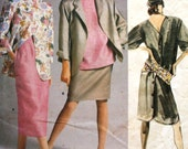 Perry Ellis Designer Womens Outfit Vogue 1694 Sewing Pattern Size 8 1980s