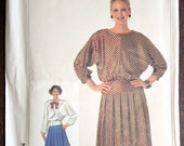 Vintage 1980s Dress Sewing Pattern Simplicity 7084 Size 10