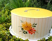 Retro Picnic in the Park Vintage Decoware Metal Cake Plate Server Cheery Flowers and Stripes