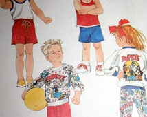 Vintage Popeye Childs Sweatshirt Tank Top and Pants or Shorts Transfer Included Size M 3 4 Sewing Pattern Simplicity 8714
