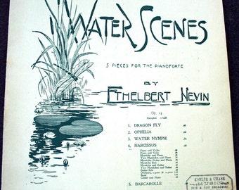 Antique Sheet Music Water Scenes 1899 Collage Art