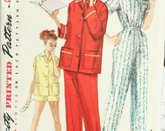 Vintage 1950s Pajamas in Two Lengths Sewing Pattern