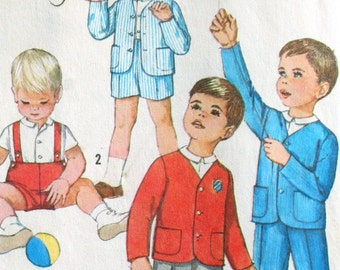 Vintage 1950s Toddlers Jackets Shirt and Pants in Two Lengths Simplicity Sewing Pattern 4913