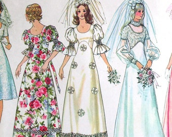 Vintage Wedding Dress Bridesmaid 1970s Sewing Pattern Simplicity 5462 Bust 34