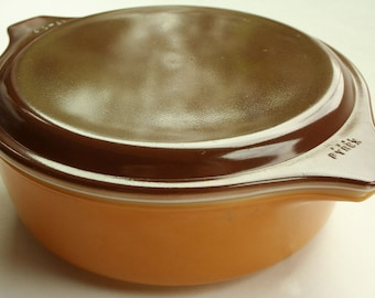 Vintage Pyrex Casserole Dish with Lid Burnt Umber and Golden Harvest 1 Pt Made in USA