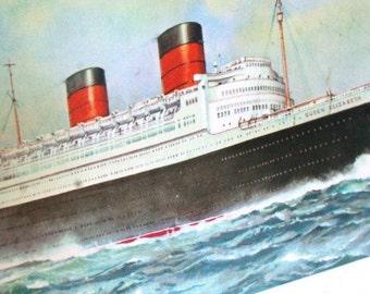 Vintage Cunard Queen Elizabeth Letter Card