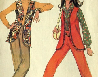 Vintage Vest and Pants Sewing Pattern McCalls 2067 Size 10 1969