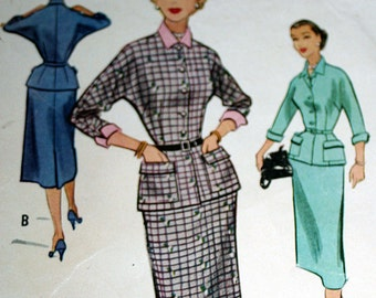Vintage 1950s Two Piece Dress Sewing Pattern McCalls 9325 Size 14 Bust 32