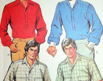 Vintage 70s Pullover Shirt with Yoke Sewing Pattern McCalls 6306