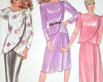 Vintage 80s Top Tunic and Skirt Sewing Pattern Butterick 3513 Size 8