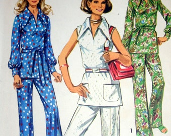Vintage Overblouse and Pants 1970s Sewing Pattern Simplicity 9361 Size 10
