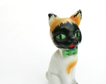 Vintage Green Eyed Cat Figurine with Green Bow Tie Japan