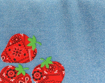 Vintage Strawberry on Sky Blue Denim Look Fabric