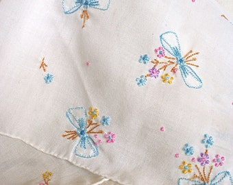 Beautiful Vintage Embroidered Handkerchief Pastel Flowers and Bows