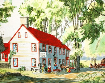 Amazing Vintage Original Watercolor Pen and Ink White Horse Tavern Stagecoach Stop Incredible Detail Lush Greenery FREE U.S. Shipping