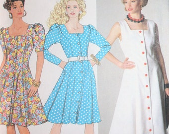 Vintage Button Front Dress Sewing Pattern Simplicity 9746 Size U5 16 - 24 Eur 44 - 52
