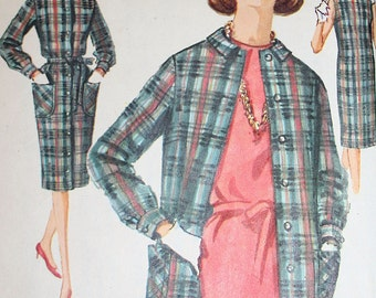 Vintage 60s Dress and Coat Sewing Pattern Simplicity 5307 Size 14 Bust 34