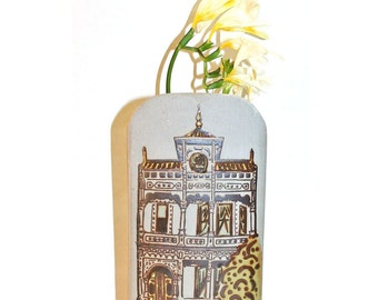 Vintage San Francisco Victorian Wall Pocket Vase Counterpoint Ceramic Made in Japan