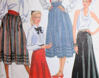 Vintage 80s Skirt Sewing Pattern McCalls 8340 Size 10 Waist 25
