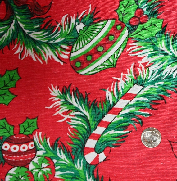 Vintage cotton fabric holiday christmas poinsettia bells candy canes