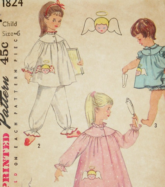 Adorable Angels Vintage Pajamas Nightgown Panties 1956 Simplicity Sewing Pattern