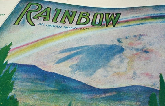Rainbow An Indian Intermezzo Vintage Sheet Music 1908 Collage Art