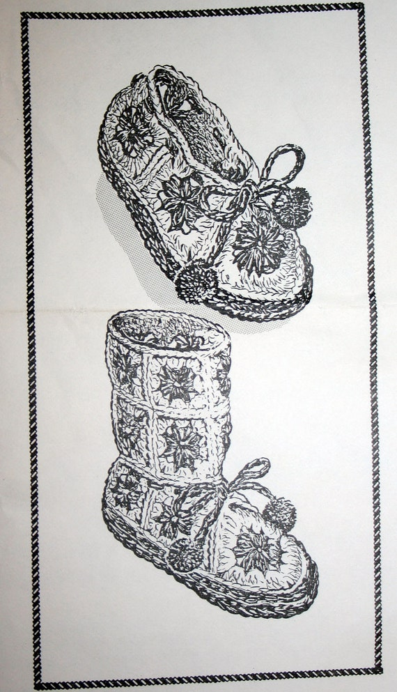 Vintage Childs Crocheted Granny Square Boots Pattern High