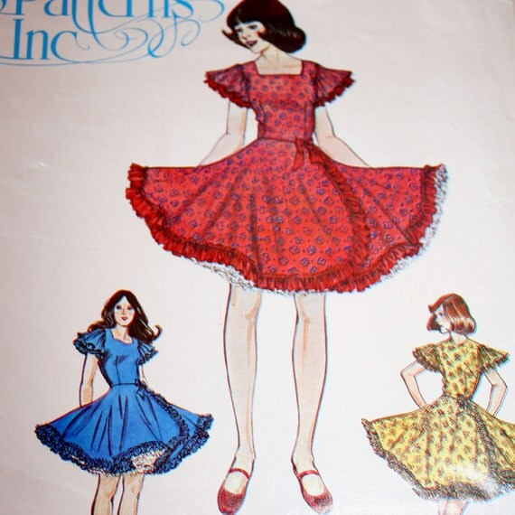 Square Dance Dress Square Jewel or Sweetheart Neckline Sewing Pattern Authentic Patterns 280 Sizes 5 7 9