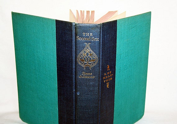 Vintage The Second Sex Simone deBeauvoir Hardcover 1964 Two-Tone Caribbean Blue Green Decorative Spine